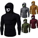 Elogoog Mens Autumn Winter Hoodie Slim Long Sleeve Hooded with Mask Print Sweatshirt Tops Blouse