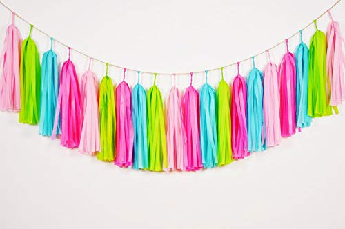 Tissue Paper Tassel DIY Party Garland Decor for All Events & Occasions - 20 Tassels Per Package