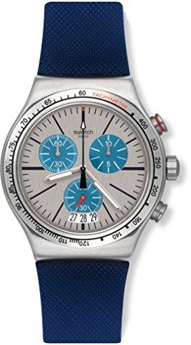Swatch Men'S Blau Me On Steel Quartz 43 Mm Watch Yvs435
