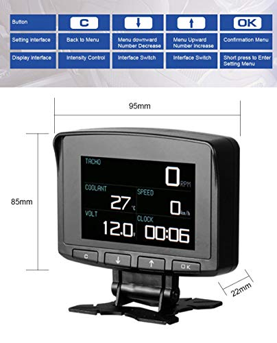 AUTOOL X50 PRO Multi-Function Car OBD Smart Digital Meter & Alarm Fault Code Water Temperature Gauge Digital Voltage Speed Meter Display Support 12V OBDII Diesel Vehicles (X50 PRO) by AUTOOL (Image #5)