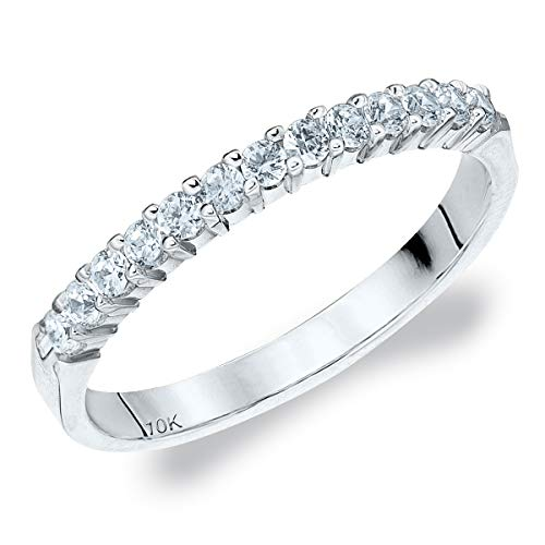 (.25CT Destiny Shared Prong Diamond Wedding Band in 10K White Gold - Finger Size 5.5)