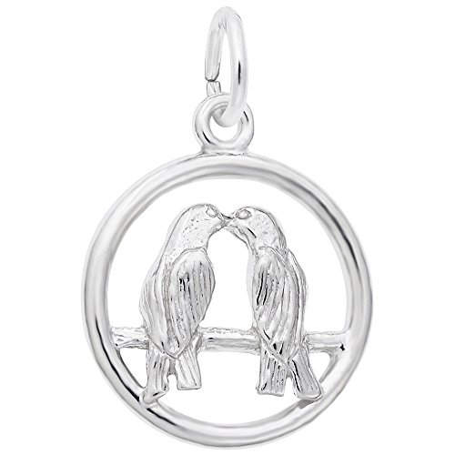 Love Birds Charm In 14k White Gold, Charms for Bracelets and Necklaces by Rembrandt Charms (Image #1)