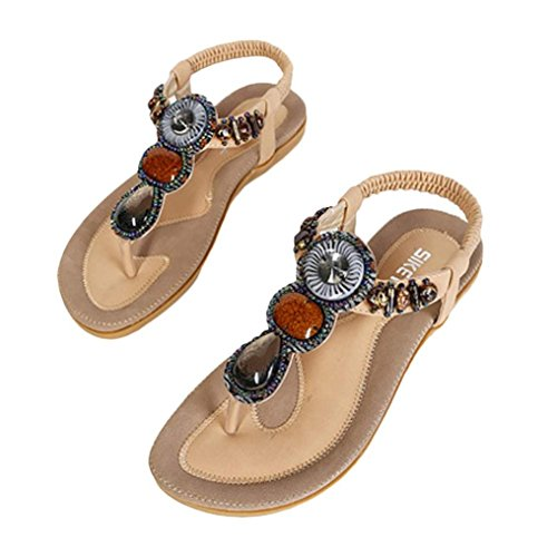 ZycShang Women Sandals Fashion Sweet Beaded Clip Toe Flats Bohemian Herringbone Sandals Size 5.5-11 Khaki sMK0RS77di