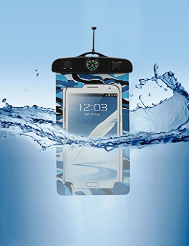 Paladineer Camouflage Waterproof Cell Phone Carrying Cases with IPX8 Certificate Universal Waterproof Pouch with Touch Responsive Front and Back Transparent Screen Protector Windows for Apple iPhone 6 Plus/6/5S/5C/5/4S Samsung Galaxy S5/S4 Note2/3/4 HTC Desire Sony Z2/Z3 WB05 Blue