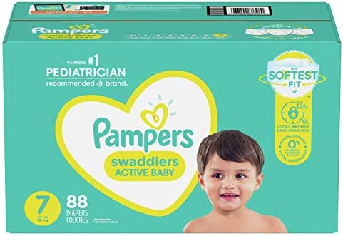 Diapers Size 7, 88 Count – Pampers Swaddlers Disposable Baby Diapers, ONE Month Supply (Packaging May Vary)