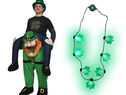Adult St Patricks Day Carry Me Ride A Leprechaun Costume Shamrock Necklace Set -