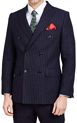 (Dobell Mens Navy Suit Jacket Tailored Fit Notch Lapel Double Breasted Chalk Stripe-42R)