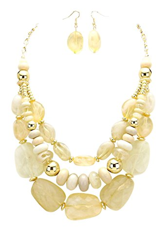 Rosemarie Collections Women's Necklace Earrings Set Multi Strand Pebble (Ivory) -