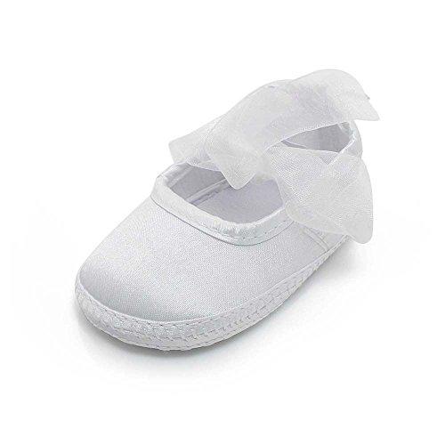 Girls Christening Booties (Delebao Baby Girl Infant Christening Baptism Toddler Crib Shoes Satin Dance Ballerina Slippers (9-12 Months, Shoes))