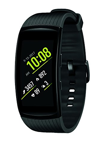 Samsung Gear Fit2 Pro Smartwatch Fitness Band (Large), Liquid Black, SM-R365NZKAXAR - US Version with Warranty (Best Run Walk Interval App)