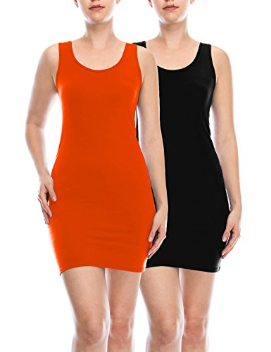 Classic Cami (AIMA Women's Classic Extra Long Ultra Stretch Opaque Tunic Tank Top Set Orange/Black XXX-Large)