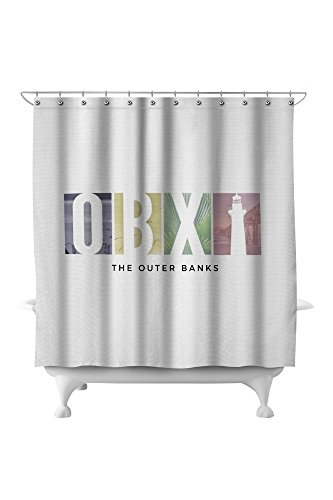 North Carolina Printed Curtain - Outer Banks, North Carolina - OBX (71x74 Polyester Shower Curtain)