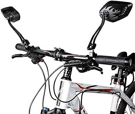 1 par Espejo Retrovisor Bicicleta, Bicicletas de Carretera de Montaña Espejo retrovisor alargadoVarilla de espejo giratoria de 360 grados ajustables de 90 Ajustar el ángulo Retrovisor Espejo Ampli: Amazon.es: Deportes y aire libre