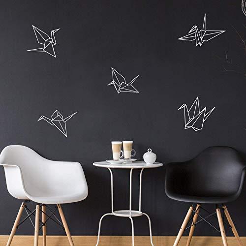 Set Of 5 Vinyl Wall Art Decals - Paper Cranes - 9