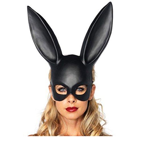 Mr.Macy Hot Sale Matte Easter Party Rabbit Ears Mask Half Face Masks Nightclub Bar Masquerade (Black) -
