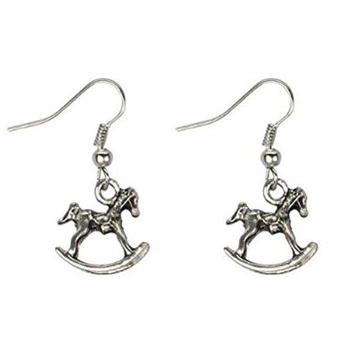 Tin Alloy Rocking Horse Drop Earrings - Antique Silver Tone ()