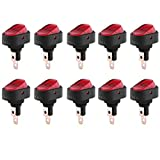 Qiilu Car Rocker Toggle Switch 12V 30A Red Lamp Bulb Light SPST On-Off Control for Auto Boat 10Pcs