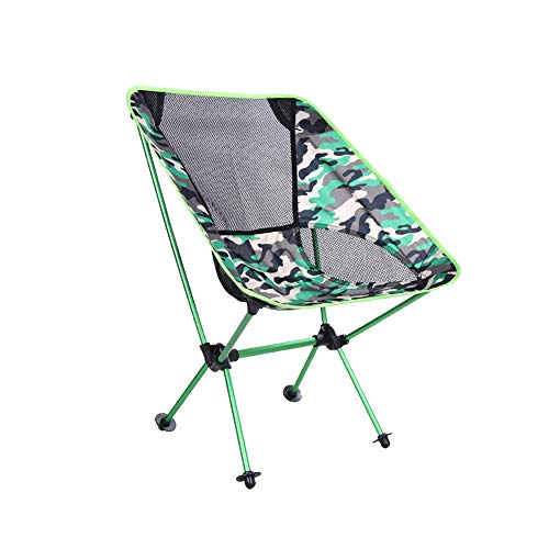 MIMI KING Camping Chair Ultra Light Garden Chair Outdoor Lightweight Folding Chair with Carry Bag for Travel Hiking Garden Fishing Beach,GreenCamouflage