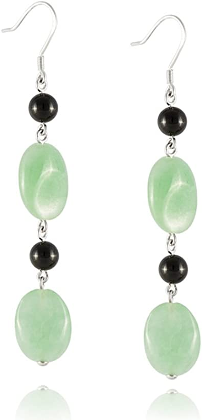 925 Sterling Silver Green Stone Bead Dangle Earring