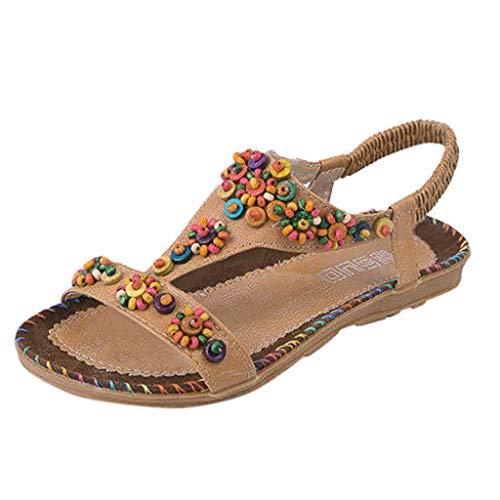 Womens Vintage Sandals,❤️ FAPIZI Girls Peep-Toe Boho Flat Shoes Casual String Bead Elastic Band Beach Shoes Sandals Brown