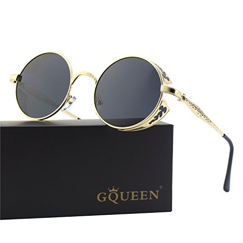 GQUEEN Retro Round Steampunk Polarized Sunglasses - Sunglasses Newest