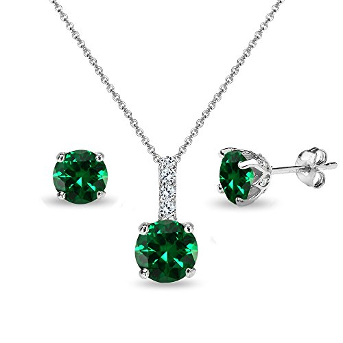 Sterling Silver Simulated Emerald & White Topaz Round Crown Stud Earrings & Necklace -