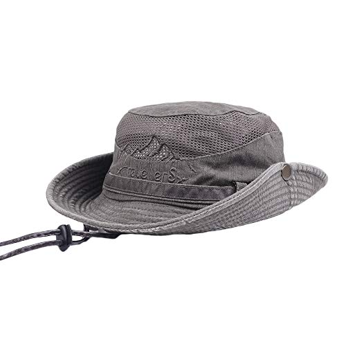 Mens Cotton Embroidery Visors Bucket Hats Fisherman Hat Outdoor Climbing Mesh Spring Summer Sunshade Caps (Coffee, One Size)