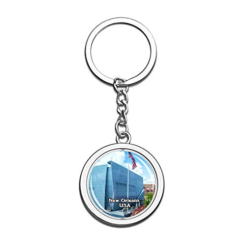 USA United States Keychain The National WWII Museum New Orleans Key Chain 3D Crystal Spinning Round Stainless Steel Keychains Travel City Souvenirs Key Chain Ring]()