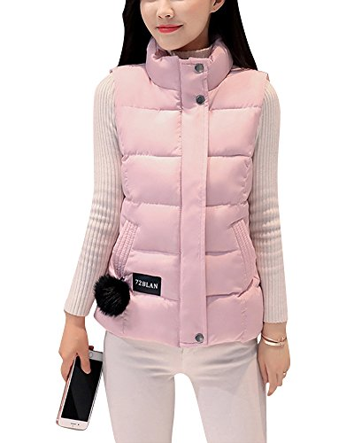 ZongSen Women's Stand-Collar Sports Vest Solid Color Leisure Hooded Parka Warm Coats Outwear Pink