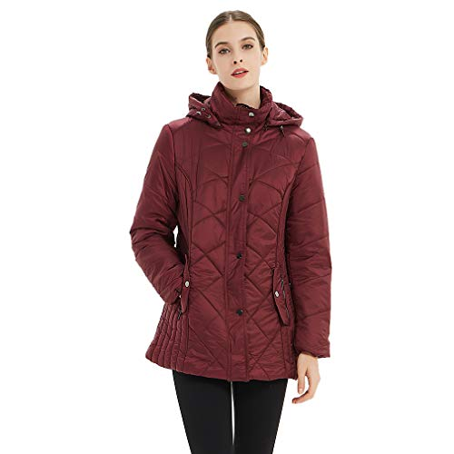 Plusfeel Women's Ladies Outdoor Hiking Cycling Travelling Package Down Jacket Hooded Winter Warm Puffer Down Jacket Coat Near Gifts, Wine, L