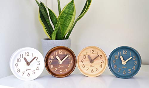 Driini Wooden Desk & Table Analog Clock Made of Genuine Pine (Light) - Battery Operated with Precise Silent Sweep Mechanism … - MINIMALIST PINE WOOD CLOCK - Perfect decor for your office desk, bedroom table, bathroom counter, or living room mantel PRECISE, QUIET & NON-TICKING - Precision quartz sweep inner movement mechanism quietly maintains the precise time SOLID WOOD FRAME - Sturdy 100% pine wood frame and face. Clocks hour and minute hands made from solid unvarnished wood. - clocks, bedroom-decor, bedroom - 41u6J%2B5M0dL -