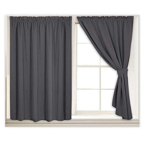 Grey Blackout Curtain Blind Drapes - Window Treatments Room Darkening All Season Soft Window Shades for Daytime Sleepers with 2 Tiebacks for Rent House, W 40 in x H 63 in Each Panel, Gray, 2 Pcs - Hanging Pleated Drapes