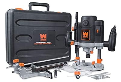 WEN RT6033 15-Amp Variable Speed Plunge Woodworking Router Kit with Carrying Case & Edge Guide