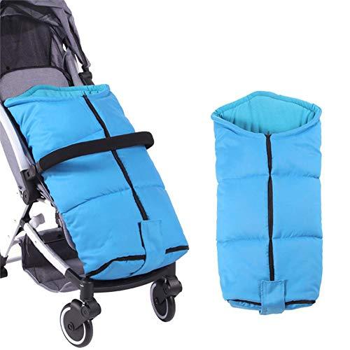Goodtimera - Saco de dormir para cochecito de bebe, algodon calido grueso y resistente al viento, 80 × 58 × 90 cm, manta para bebe, cubrepies para coche, manta de pie para ninos en invierno azul azul