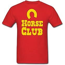 XW Designed Men's Horse club with horseshoe T-Shirts Red Large