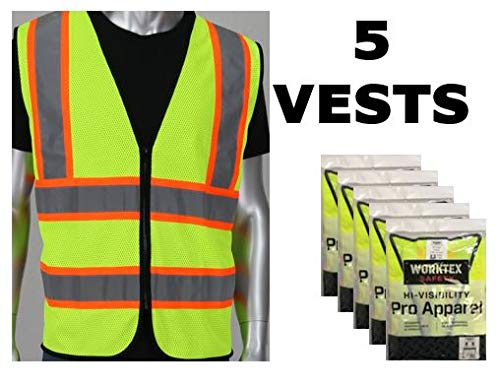 - Worktex Safety Economy Class 2 Two-Tone Mesh Safety Vest, Yellow/Lime, Size M, 5 per Pack