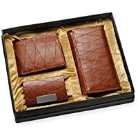 Arum Couple Combo In Light Brown Leather Wallet & Business Card Holder For Men And Women