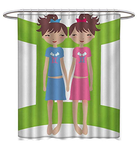 (Anhuthree Zodiac Gemini Shower Curtains Fabric Extra Long Green Sign Background with Twin Girl Cartoon Characters for Teens and Kids Bathroom Decor Set with Hooks W69 x L75)