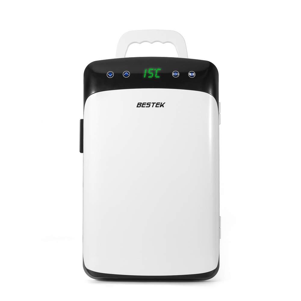 BESTEK 冷温庫 車載 家庭 両用 ミニ冷蔵庫 として使用可能 タッチパネル式 DC AC 2電源式 保冷 保温 小型でポータブル 静音設計 10L ホワイト BTCR10-JP