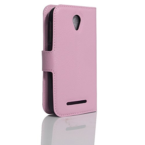 OFU® Para ZTE blade L110 Funda,Dual Layer PC And TPU Hybrid Card Carry Pocket Wallet Slot,Cartera Cuero Funda de Piel Wallet Case para ZTE blade L110 Carcasa Flip Case Cover con Función Soporte(rosa)