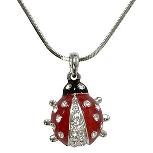 Adorable Little Silver Tone Ladybug Charm Necklace with Crystal Accents for Girls Teens and Women (Crystal Accent Gold Tone Key)