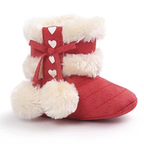 Zapatos Bebé,Xinantime Botas de Nieve Suaves Chica Calientes Niño Invierno (17, Rosa1) Rojo1