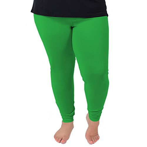 Stretch is Comfort Women's Cotton Plus Size Leggings Kelly Green -