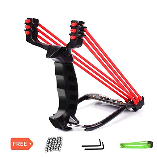 Glopole Hunting Slingshot, Y Shot Slingshot, Professional Sling Shot, Stainless Steel Outdoor Wrist Rocket Slingshot, High Velocity Catapult with 2 Rubber Bands and 50 Extra Slingshot Ammo