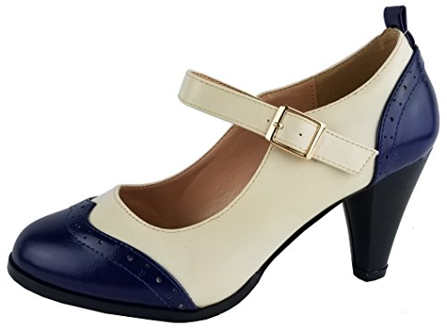 Chase & Chloe CE36 Women's Round Toe Two Tone Mary Jane Pumps (8 B(M) US, Navy/White)