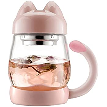 BZY1 14oz Glass Tea Cup with a Lid & Strainer , Portable Cute Cat Tail Heat Resistant Mugs ,Free with a Coasters
