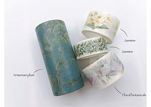White Florals (Jasmine, Camellia and Armenian Plum) washi Tape Set of 4 Rolls- Including Extra Wide. for Crafts, DIY, scrapbooks, giftwrap, Wall Paper Borders, and Decor