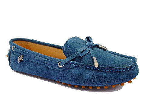 Minitoo - Mocasines para para mujer, estilo Casual, ante, con lazo azul (peacock blue)