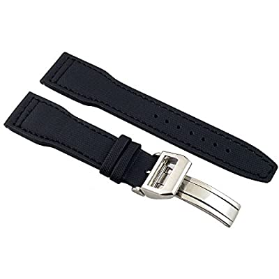 Fanmis 22mm Black Fabric Leather Strap Watch Band Watchband Pilot Pin Silver Deployment Buckle by Fanmis