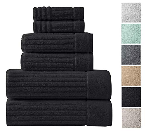 - Luxury Bath Towel Collection Set - Ultra Absorbent and Plush Complete Towel Set With Unique Ribbed Design - Made with 100% Cotton (Black)